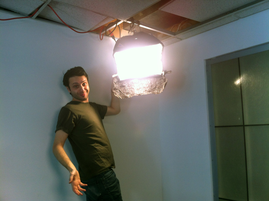 Dan Fridman works his lighting magic on a drop-down ceiling in preparation for our Seth Pinsky interview. December 2013
