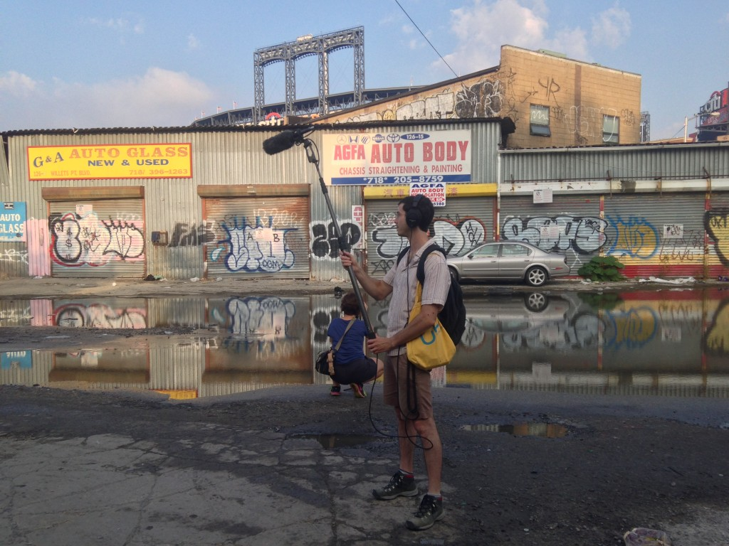 Raoul Anchondo (sound) and Martyna Starosta (camera) in Willets Point in September 2015